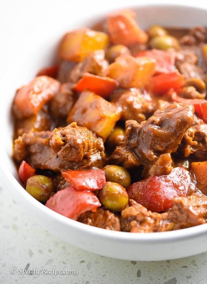 Filipino Beef Kaldereta Recipe Speedyrecipe Com
