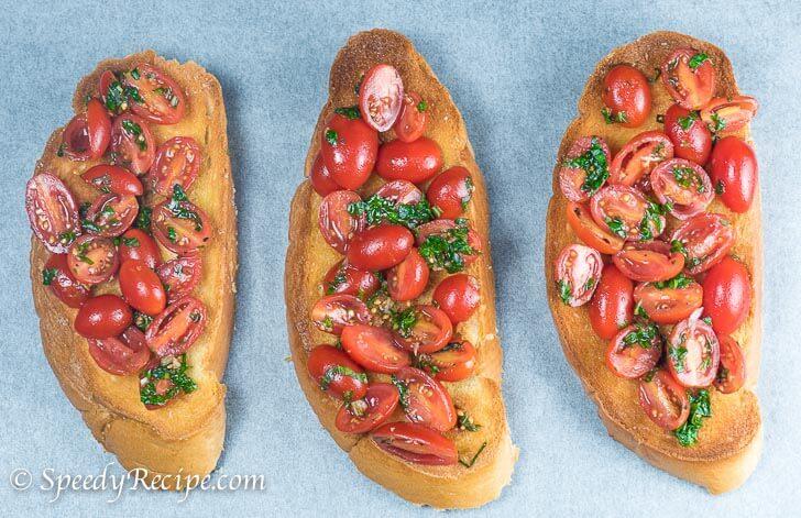 Toasted Basil and Tomato Bruschetta