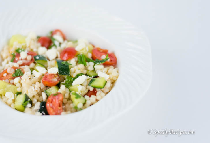 Couscous with Tomato Cucumber Feta and Mint Salad Recipe