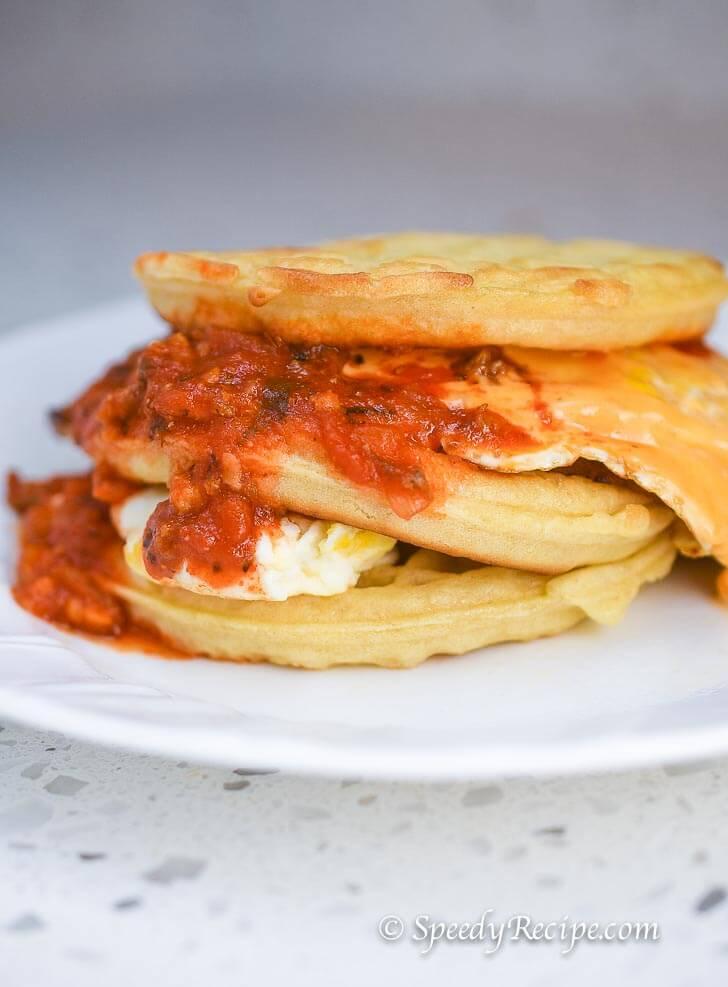 Breakfast Sloppy Breakfast Ham Cheese and Egg Waffle