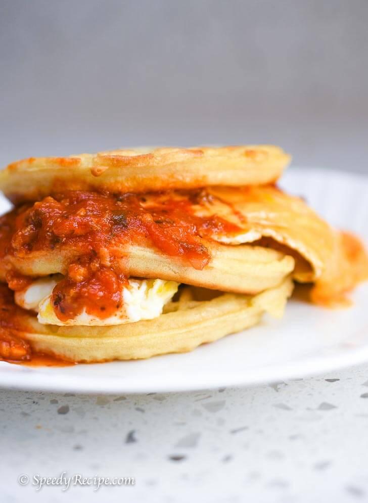 Breakfast Sloppy Ham Cheese and Egg Waffle Breakfast
